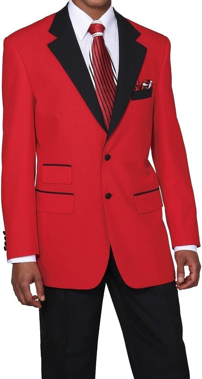 Men's Poplin Dacron 2button High Fashion Suit 2 Tone Red/Black, Royal/Black 7022