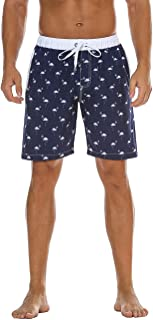 Nonwe Men's Swimming Shorts Printed Quick Dry Drawsting with 3 Pockets Firebird Navy Printed 42