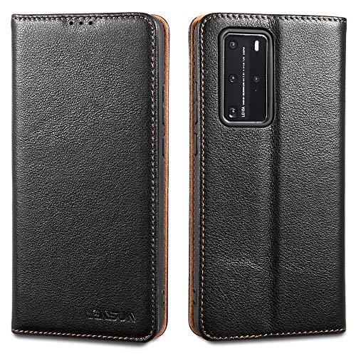 LENSUN Echtleder Hülle für Huawei P40 Pro, Leder Handyhülle Magnetverschluss Kartenfach Handytasche kompatibel mit Huawei P 40 Pro(6,58 Zoll) – Schwarz(P40P-DC-BK)