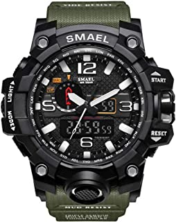SMAEL Boy's Military Watch, Big Face Sports Watch Army Style Multifunctional Wrist Watch for Youth - army green