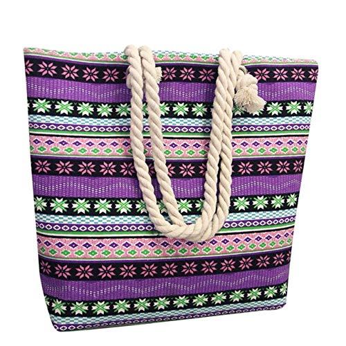 Mdsfe Handtasche Wave Shape Umhängetasche Damen Ledertasche Mode Weibliche Leinwand National Wind Print Handtasche - Lila, a1