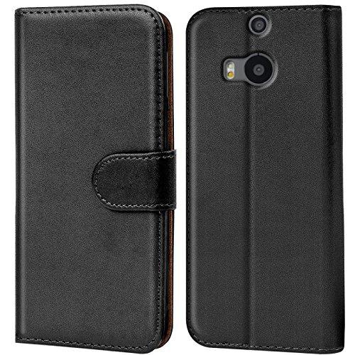 CoolGadget Handyhülle für HTC One M8 Hülle, Book Case Premium PU Leder Flip Cover Schutzhülle für HTC M8 Tasche, Schwarz