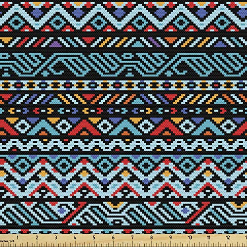 Lunarable Tribal Fabric by The Yard, Colorful Geometric Mexican Pixel Art Pattern Indigenous Native Style, Decorative Fabric for Upholstery and Home Accents, 3 Yards, Red Blue