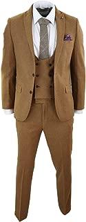 HARRY BROWN Mens Wool Tweed 3 Piece Brown Slim Fit Blue Vintage Double Breast Peaky Blinders Tan