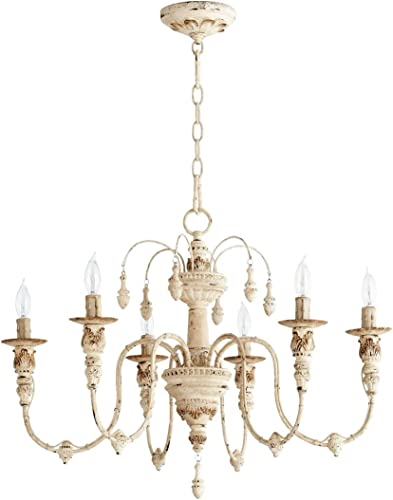 "lowest Quorum 6316-6-70 Salento 25"" 6-Light sale wholesale Chandelier in Persian White online"