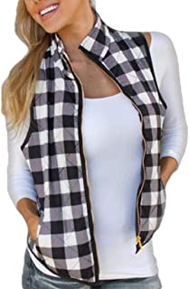 Womens Winter Buffalo Plaid Jacket Vest with Sherpa Fleece Lining Vest