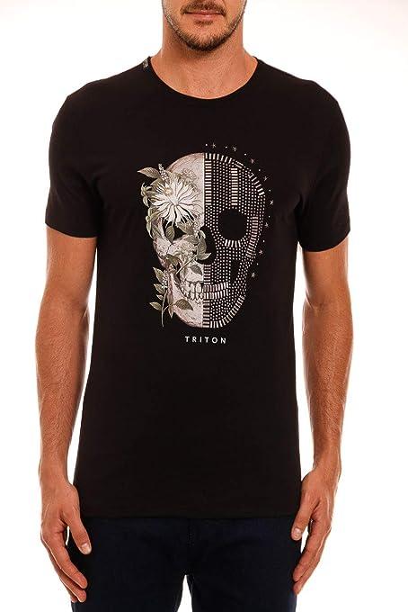 Camiseta estampada com aplicação Triton Masculino