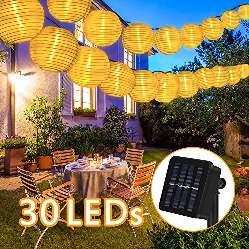 Nasharia Solar Lichterkette Lampions Außen 6 Meter 30 LED Laternen 2 Modi IP65 Wasserdicht Solar Beleuchtung Aussen für Garten, Hof, Hochzeit, Fest Deko (Warmweiß)