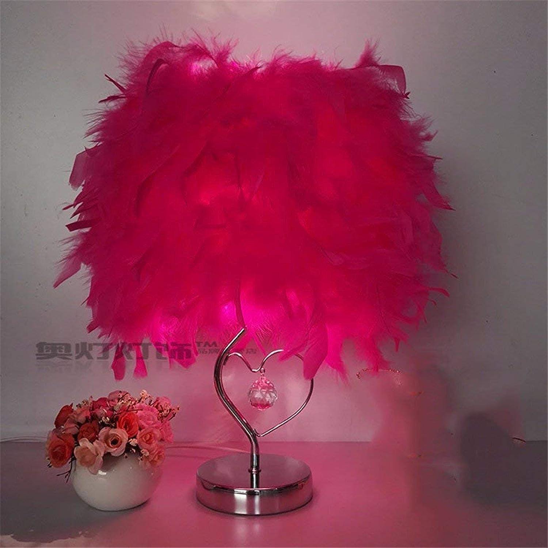 WLM Lámpara de Mesa de la Personalidad nórdica, Luces Decorativas caseras Elegantes Lámpara de Cristal de la Pluma Caliente, A30Cm en Rojo