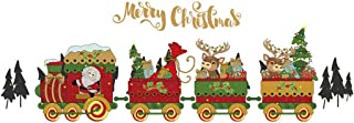 Evangelia.YM Santa Claus Train Creative Wall Stickers 2pcs Christmas Living Room Bedroom Window Glass Decal Self-Adhesive Wallpaper 60x45cm (Multicolor)