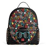 COOSUN Hippie Black Head Frau mit seltsamen Haar Schule Rucksäcke Bookbags für Jungen Mädchen Teens Kinder Mittel Multi # 3