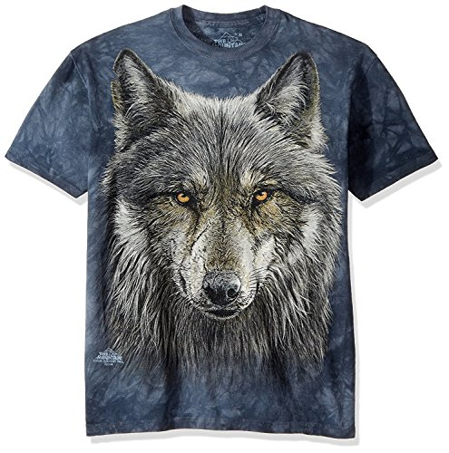 The Mountain Warrior Wolf Adult T-Shirt, Grey and Blue, 2XL