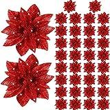 Flores Artificiales de Poinsettia de Navidad Decoración Adorno de Árbol de Navidad de Flor de Pascua de Purpurina Accesorios Florales para Decoración de Puerta Principal Casa de Navidad (Rojo, 36)