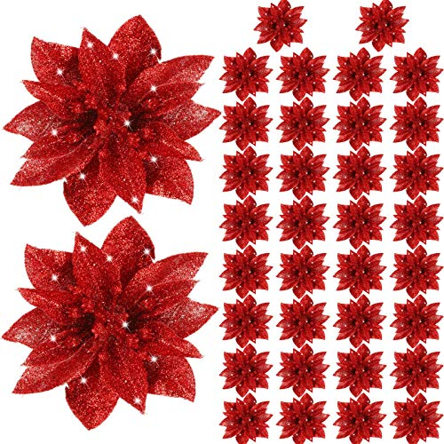Gejoy Christmas Poinsettia Flowers Artificial Glitter Poinsettia Christmas Tree Ornaments Decorative Floral Accessories for Xmas Home Front Door Decorations (Red, 36)