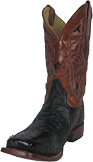 CORRAL Men's Black Small Quill Ostrich Leather Star Inlay Square Toe Cowboy Boots A1317