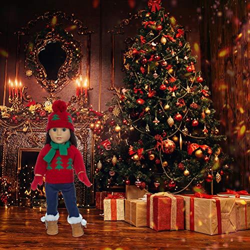 Wopohy - Ropa para muñecas de bebé de 18 pulgadas, ropa de Navidad para muñecas de bebé, para recién nacidos, muñecas americanas, suéter, bufanda, pantalones de sombrero, guantes para muñecas