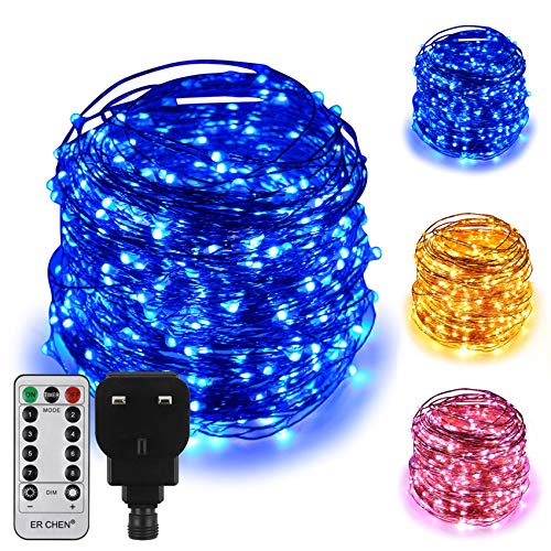 ErChen Dual-Color LED String Lights, 165 FT 500 LEDs Plug in Copper Wire 8 Modes Dimmable Fairy Lights with Remote Timer for Indoor Outdoor Christmas (Blue/Warm White)