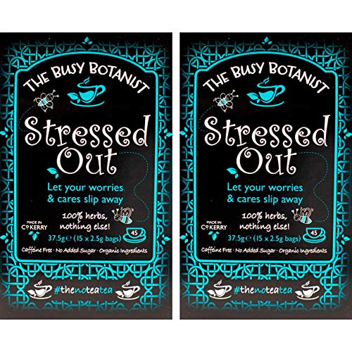 Stressed Out Herbal Tea with Valerian Root, Camomile and Ashwagandha - Calm Tea for Stress Relief - Caffeine Free, Decaffeinated - 2 x 15 Individual Tea Bags - by The Busy Botanist