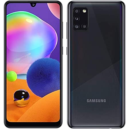 "Samsung Galaxy A31 (128GB, 4GB) 6.4"" FHD+, Quad Camera, 5000mAh Battery, Dual SIM GSM Unlocked US + Global 4G LTE International Model - A315G/DSL (Prism Crush Black, 128GB + 128GB SD + Case Bundle)"