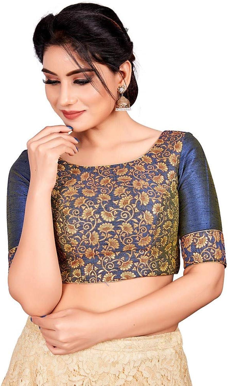 Designer Indian Navy bluee Brocade Padded Back Open Hooks Elbow Sleeve Saree Blouse (X721)