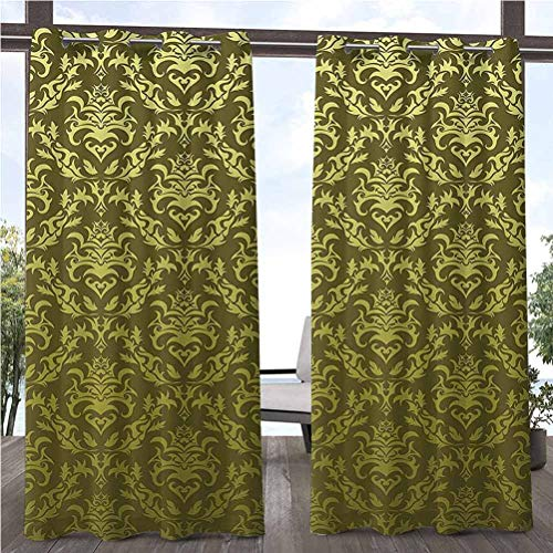 ParadiseDecor 108' W by 96' L(K274cm x G243cm) Damask Pergola Outdoor Curtain Panel for Pergola/Sunroom Victorian Floral Pattern with Kitsch Elegance Petals Rococo Vintage Artful Design