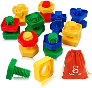 Jumbo Nuts and Bolts Toddler Toys, 32 PCS Jumbo Nuts and Bolts Set ,Nuts and Bolts Fine Motor Skills Occupational Therapy Tools Matching Fine Motor Skills for Preschoolers Safe Material