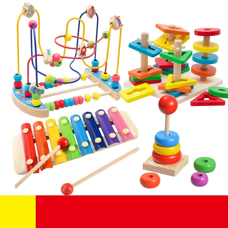 赤ちゃんおもちゃ ビーズコースター  キッズ  木製  ルーピング  おもちゃ 指先トレーニング  積み木 セット ミニ サイズ 空は模様 早期開発 プレゼント (4点セット)