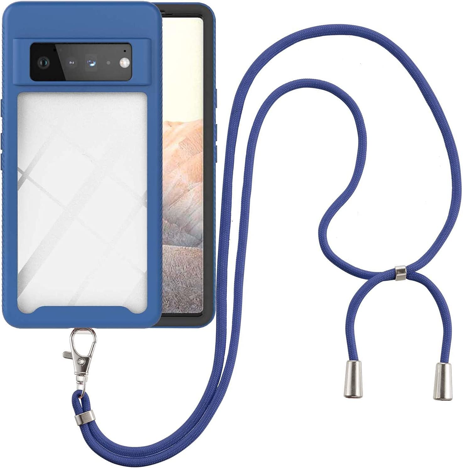 Google Pixel 6 Pro Case, EabHulie Transparent Back No-Slip Bumper with Adjustable Crossbody Lanyard Strap Case, Shockproof Full Body Protection Cover for Google Pixel 6 Pro Blue