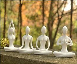 OwMell Lot of 4 Meditation Yoga Pose Statue Figurine Ceramic Yoga Figure Set Decor (White Set)