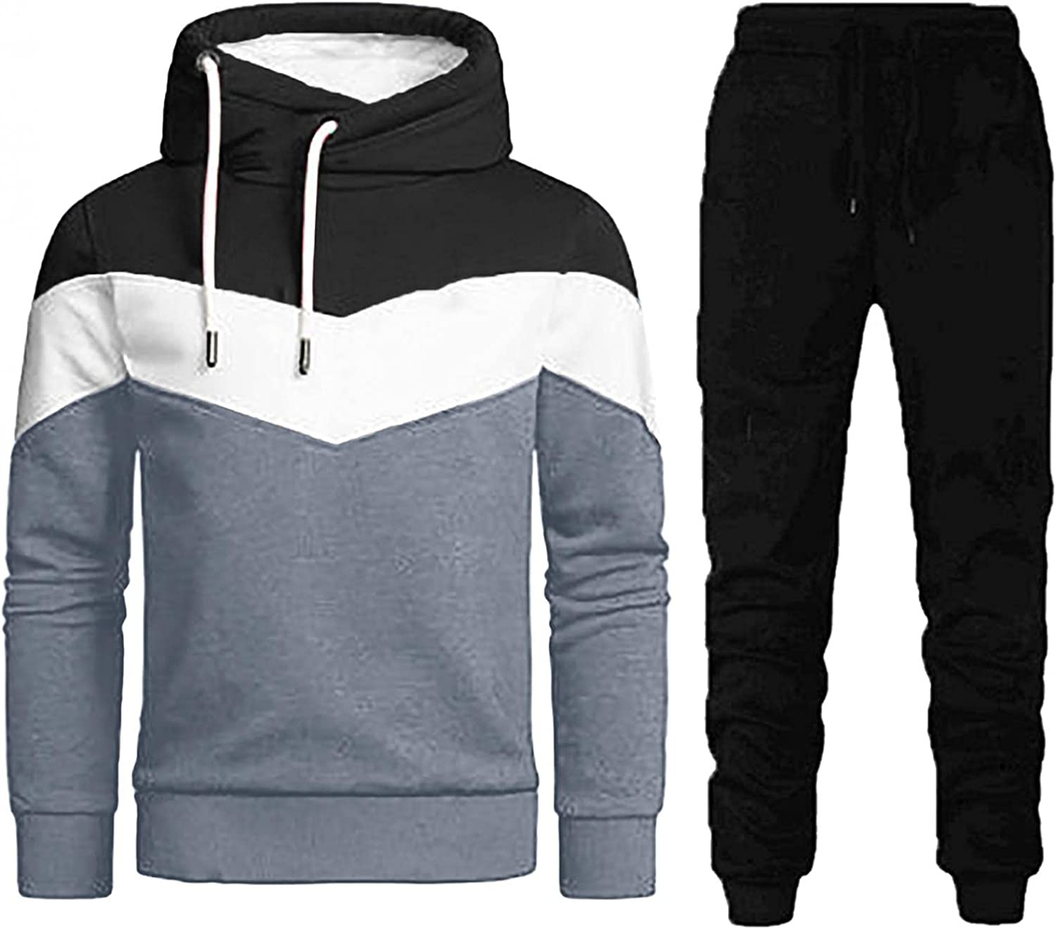 Mens 2 Piece Tracksuits Long Sleeve Hoodie Sweatpants Sets Casual Athletic Comfy Outfits Classic Cotton Sweatsuits
