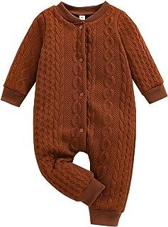 طفل الفتيات الفتيان محبوك تويست رومبير الرضع حديث الولادة الصلبة طويلة الأكمام حللا ملابس دافئة ملابس (Color : Brown, Size...