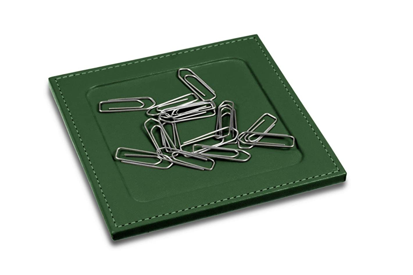 Lucrin - Stand for paper clips with square corners - Dark Green - Smooth Leather