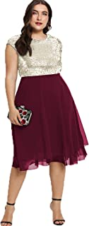 ESPRLIA Womens Plus Size Sequin Short Cap-Sleeve Holiday Party Homecoming Midi Dress
