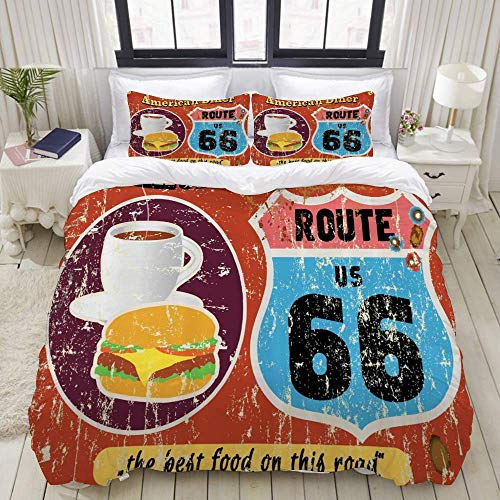 Yaoni Duvet Cover,Route 66 American Diner Old Fashioned Sign Main Street of America Journey Famous Adventure,Bedding Set Ultra Comfy Lightweight Microfiber Sets