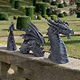 APPO Three-Section Dragon Garden Sculpture, Gothic Garden Resin Statue, Realistic Garden Decoration Art, Used for Outdoor Lawn and Garden Decoration