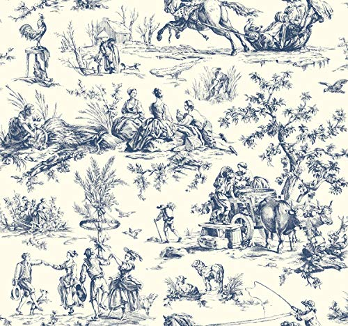York Wallcoverings AF2000 Ashford Toiles Seasons Toile Removable Wallpaper, Navy/Off-White