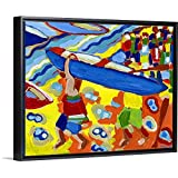 The Boat Race Black Floating Frame Canvas Art, 47'x38'x1.75'
