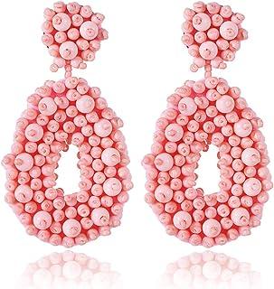 Teardrop Statement Beaded Hoop Earrings for Women Bohemian Handmade Whimsical Drop Earrings Jewelry