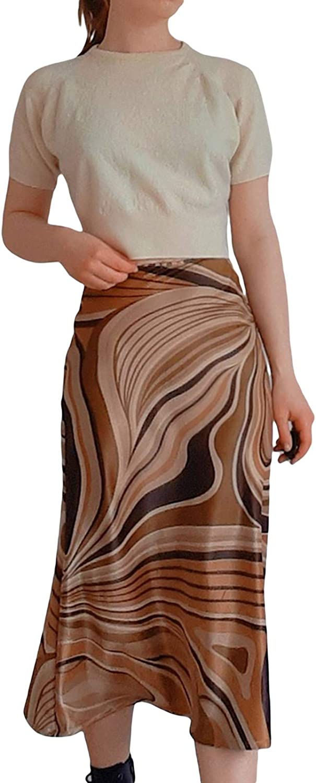Womens Vintage High Waist Midi Skirts Casual Retro Irregular Ripple Printed Midi Length A Line Skirt