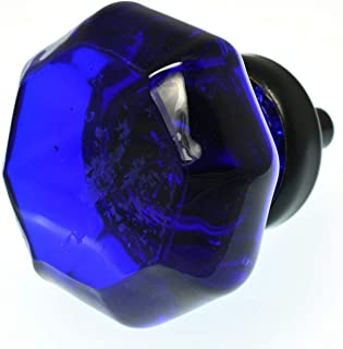 Classic Drawer Pulls, Cabinet Knobs, Crystal Dresser Handles 12 Pack T145VF Cobalt Blue Glass Octagon Knob with Oil Rubbed Hardware. Romantic Decor & More.