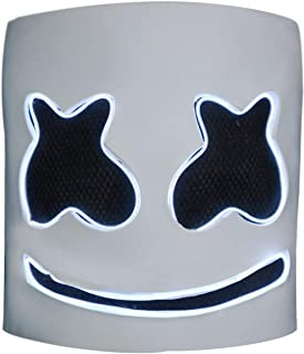 Luminous Helmet Mask Cosplay Prop Halloween Mask Full Face Cosplay Prop Halloween Party Bar Music Masks - White