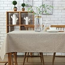 Morbuy Rectangle Mantel de Lino de algodón Antimanchas, Color Puro Mantel Rectangular de para el Restaurante del Hotel de casa Restaurante, Algodón Decoración (130 * 200cm, Beige)