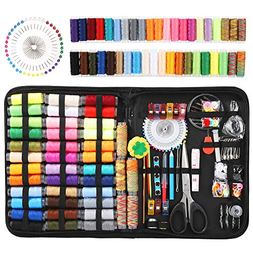 Balight 200pcs Basic Sewing Kit, Wool Felt Mold DIY Sewing Supplies Sewing Accessories for DIY, Home, Travel, Beginner, Adults (Black)