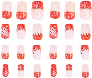 Lurrose 24pcs False Nail Tips Full Cover Christmas Snowflake Fake Nails Art Stickers DIY