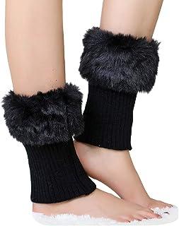 d6bfa6847 ShiFan Mujeres Calentadores De La Pierna De Pelo Sintético Cortas  Calcetines Botas De Punto Para Invierno