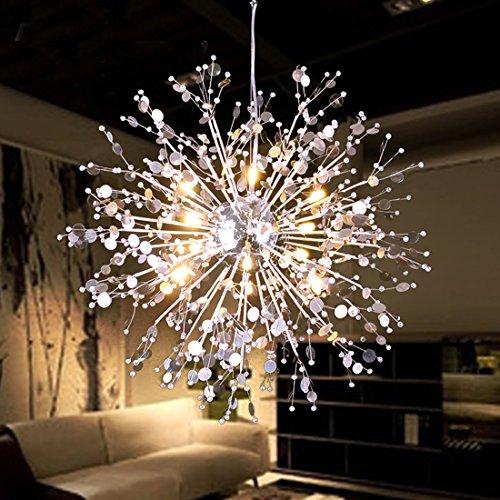 GDNS Firework - Lámpara de techo colgante de acero inoxidable, de vidrio, LED, Classic, 8 -Lights,40w