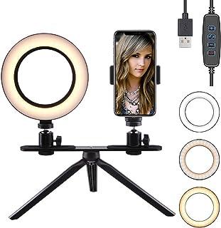 FREESOO Luz de Anillo de 6 con Trípode Soporte de Escritorio Regulable Luz LED para Cámara Mesa con 3 Modos de Luz 3200k-6500k 10 Niveles de Brillo USB para Móvil Youtube Selfie Video Maquillaje