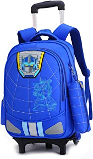Elementary School Student Trolley Bag Waterproof Wear-Resistant Breathable Backpack Removable Pulley Staircase Bag