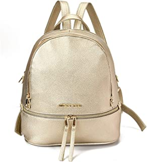 GYYlucky Spring and Summer New Shoulder Bag Women's Casual Leather Bag Female Bag Fashion Mobile Lady Travel Student Backpack (Color : Gold)