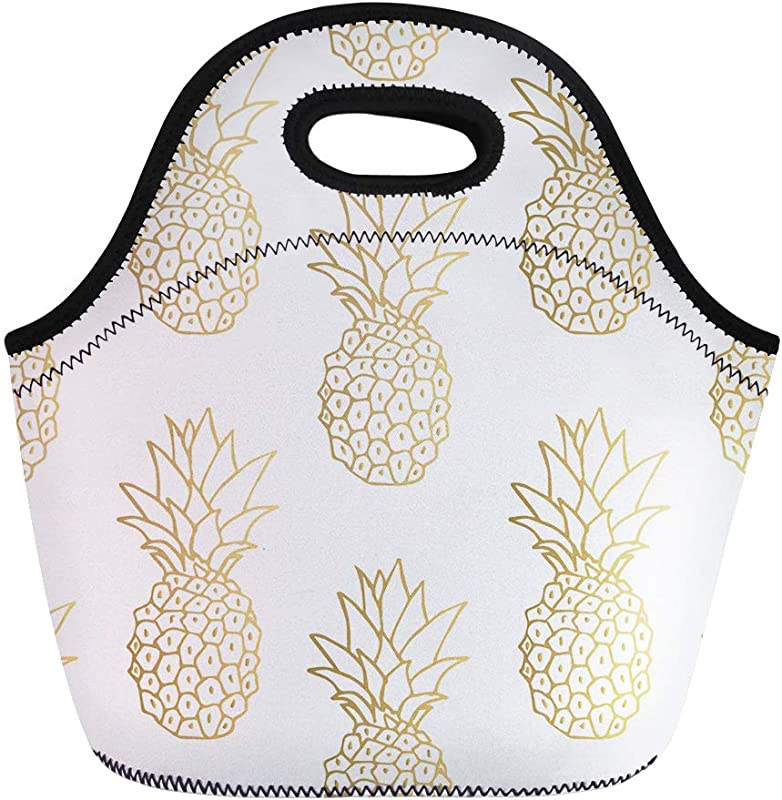 Semtomn Lunch Tote Bag Green Pattern Gold Pineapple Yellow Tropical Golden Fruit White Reusable Neoprene Insulated Thermal Outdoor Picnic Lunchbox For Men Women